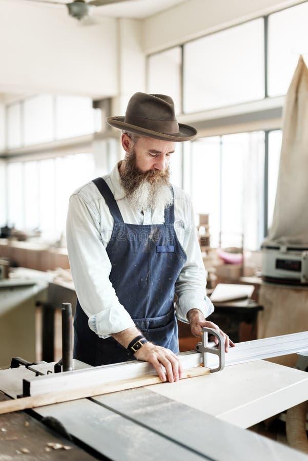 Het Concept van Handicraft Wooden Workshop van de timmermansvakman stock afbeelding