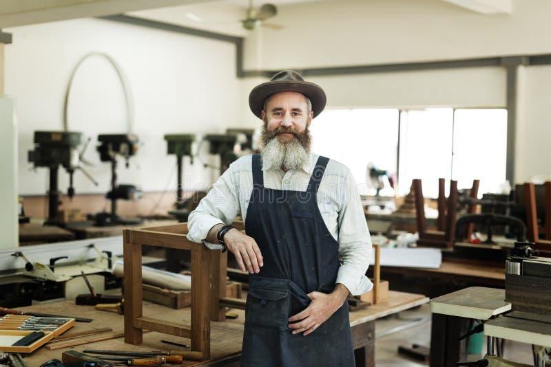 Het Concept van Handicraft Wooden Workshop van de timmermansvakman stock afbeeldingen