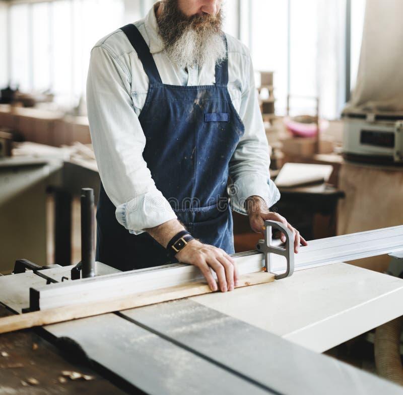 Het Concept van Handicraft Wooden Workshop van de timmermansvakman stock foto's