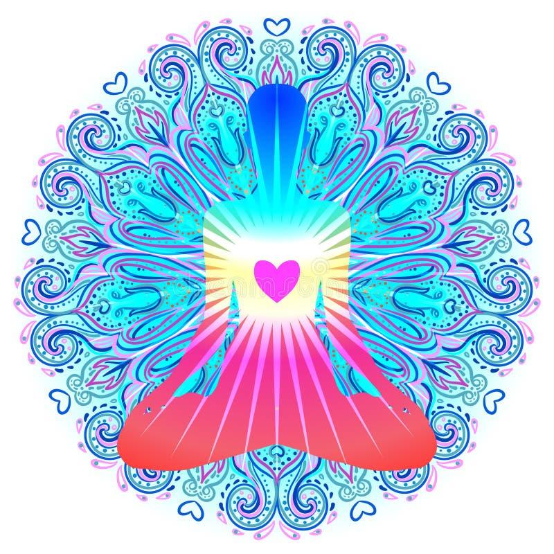 Het concept van hartchakra Binnenliefde, licht en vrede Silhouet binnen royalty-vrije illustratie