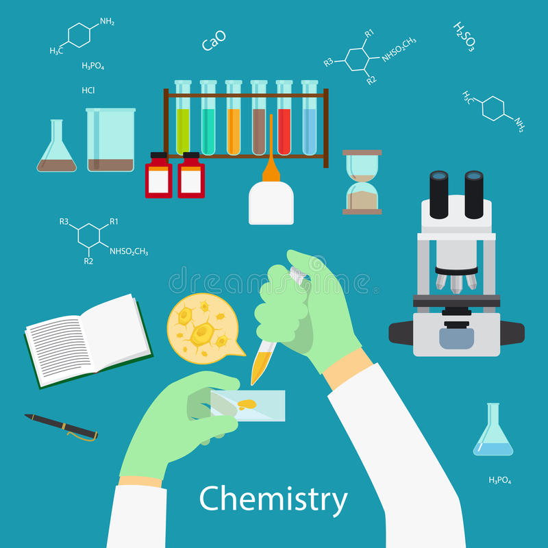 Het concept van het chemielaboratorium royalty-vrije illustratie