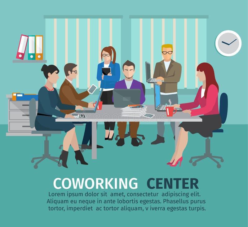 Het Concept van het Coworkingscentrum royalty-vrije illustratie