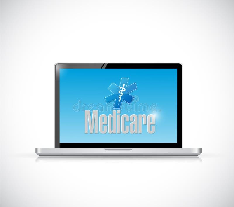 Het concept van het de computertechnologieteken van gezondheidszorg voor bejaarden stock illustratie