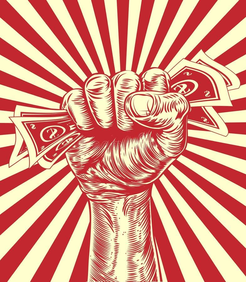 Het concept van het de holdingsgeld van de revolutievuist royalty-vrije illustratie