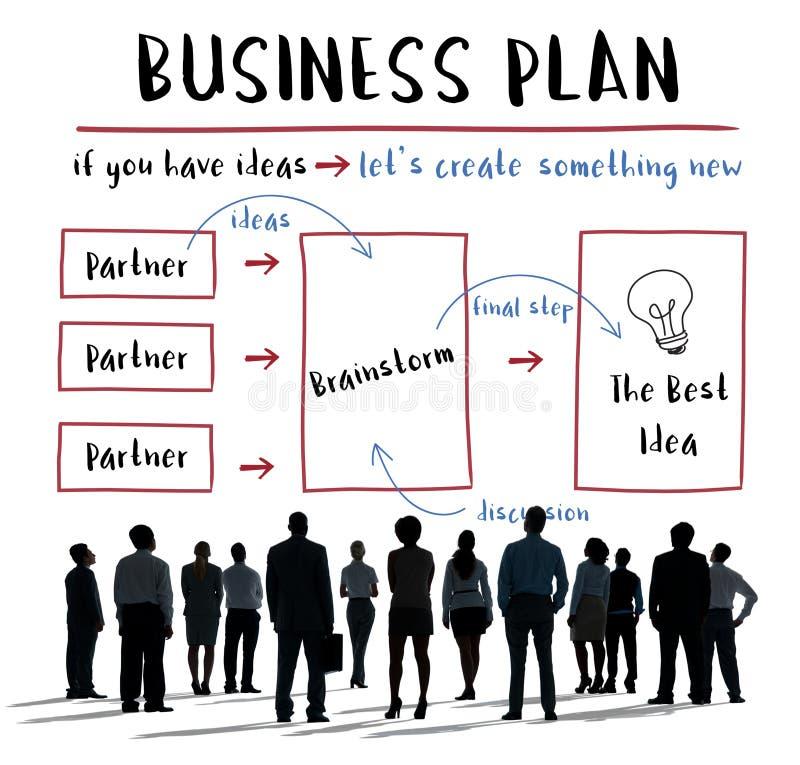 Het Concept van het de Strategiediagram van het Businessplan stock afbeelding