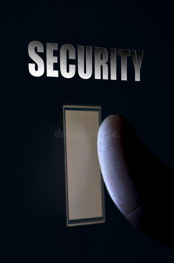 Het concept van het de veiligheidsaftasten van de vingerafdruk stock fotografie