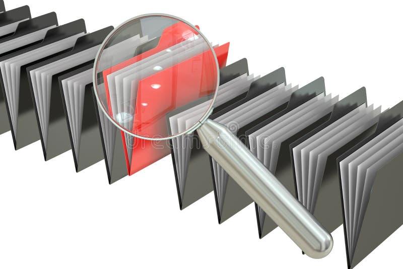 Het concept van het dossieronderzoek: omslagen en vergrootglas, het 3D teruggeven vector illustratie