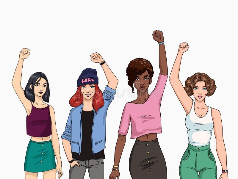 Het concept van het feminisme Verschillende jonge moderne meisjes met omhoog handen Kleurrijke illustratie stock illustratie