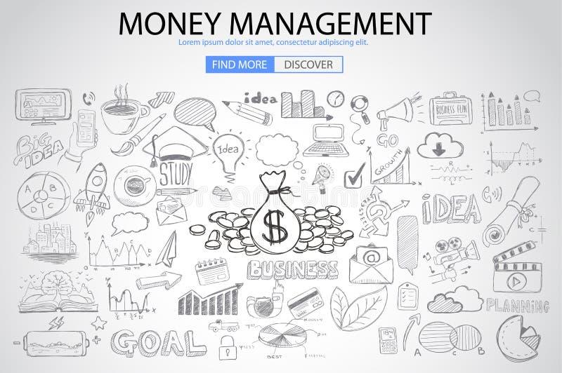 Het concept van het geldbeheer met de stijl van het Krabbelontwerp vector illustratie