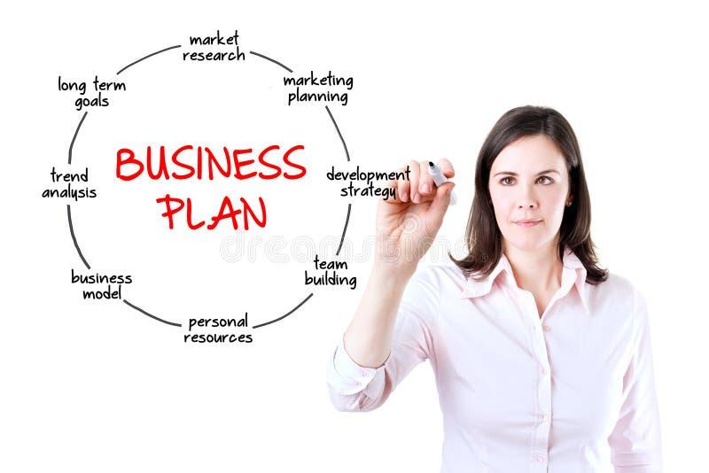 Het concept van het het businessplan van de bedrijfsvrouwentekening. royalty-vrije stock foto