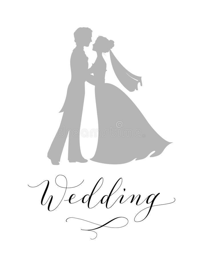 Het concept van het huwelijksontwerp Bruid en bruidegomsilhouetten en hand geschreven die douanekalligrafie op wit worden geïsole royalty-vrije illustratie