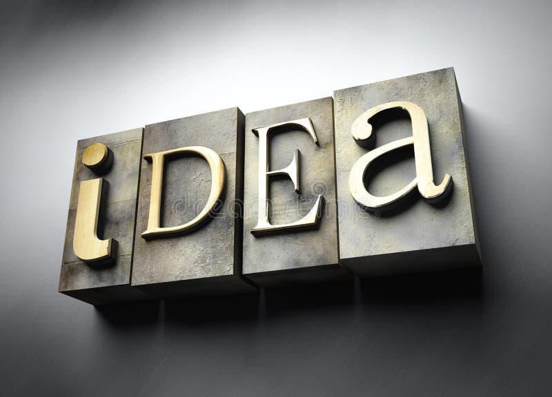 Het concept van het idee, uitstekende letterzetseltekst vector illustratie