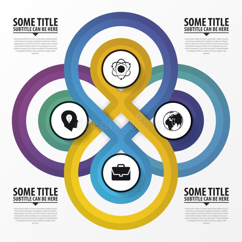 Het concept van het Infographicontwerp Vier Verbonden Cirkels Vector stock illustratie