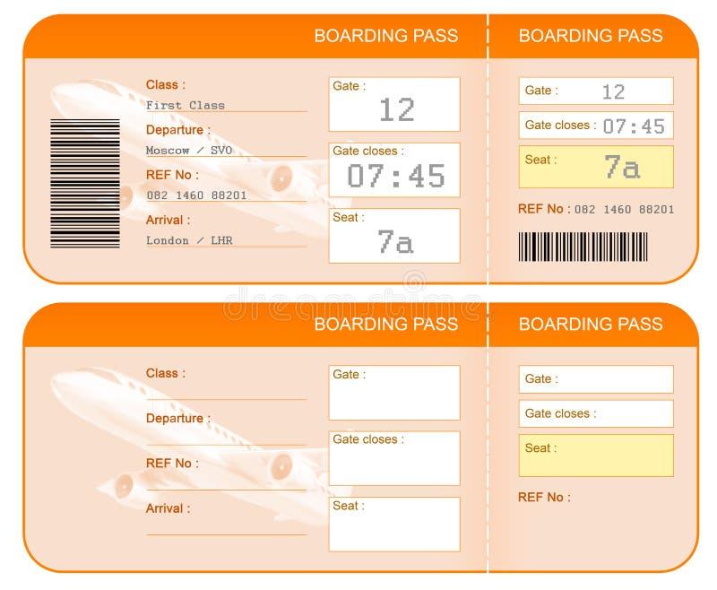 Het concept van het instapkaartkaartje. Beide kanten. Geïsoleerde. royalty-vrije illustratie