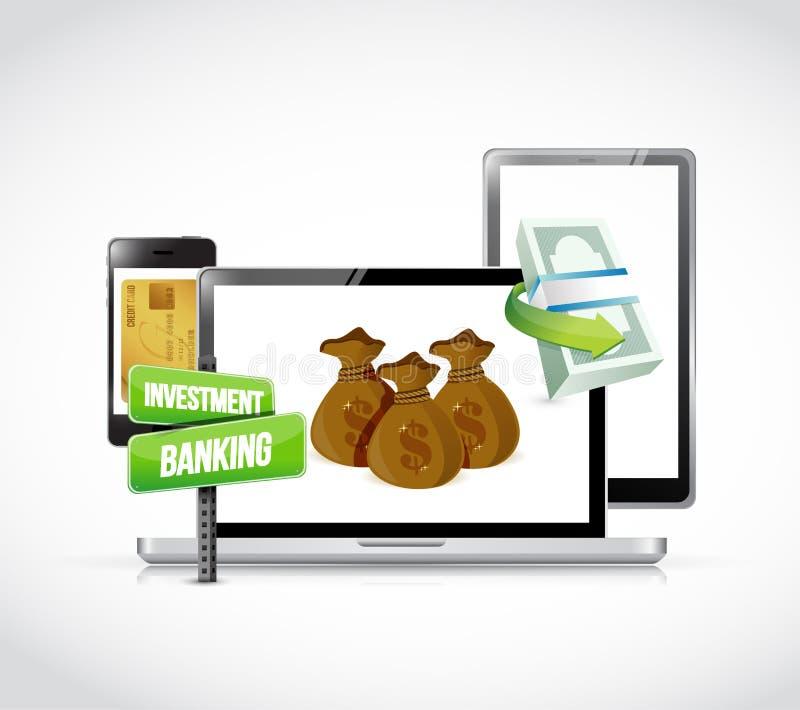 Het concept van het investeringsbankwezen op gadgets vector illustratie