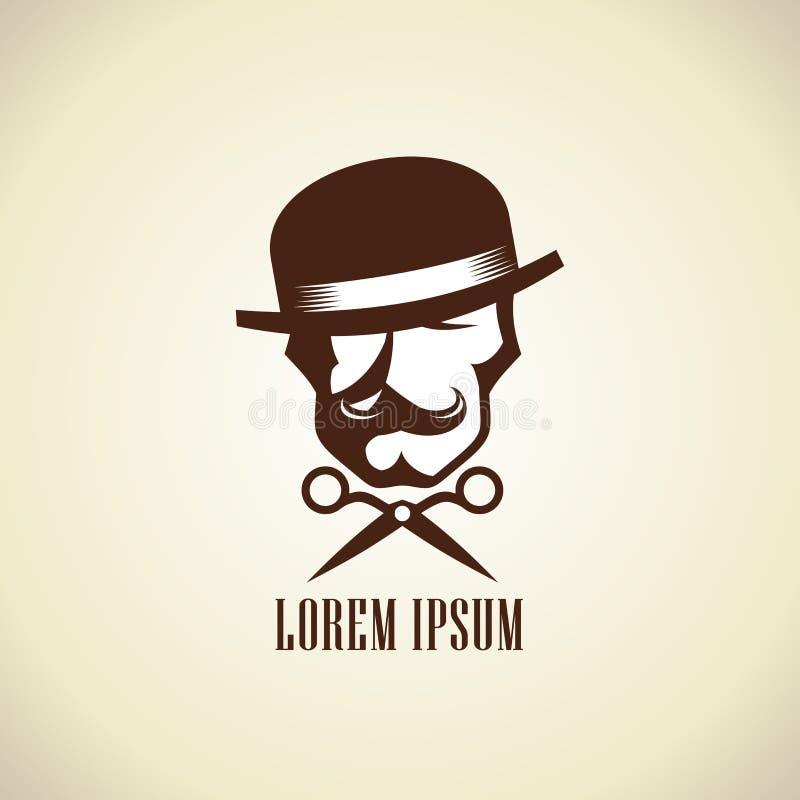 Het concept van het kappersembleem met schaar en hipster de mens kleedde zich in hoed met een snor vector illustratie