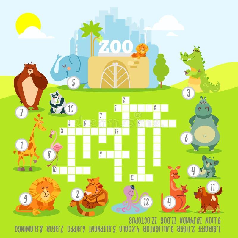 Het concept van het kruiswoordraadselspel over dierentuindieren vector illustratie