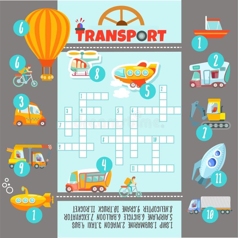 Het concept van het kruiswoordraadselspel over vervoer vector illustratie