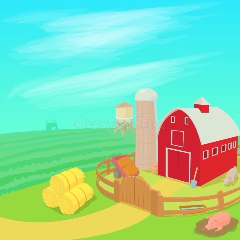 Het concept van het landbouwbedrijflandschap, beeldverhaalstijl royalty-vrije illustratie