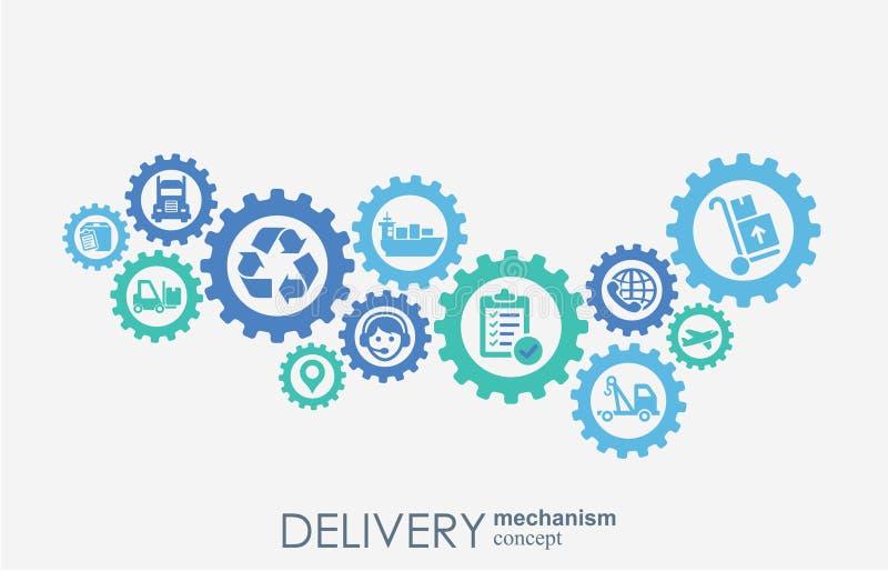 Het concept van het leveringsmechanisme Abstracte achtergrond met verbonden toestellen en pictogrammen voor logistisch, de dienst stock illustratie