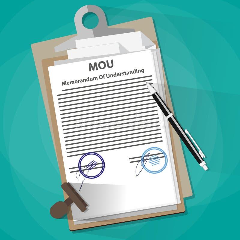 Het concept van het memorandum van overeenstemming wettelijke document royalty-vrije illustratie