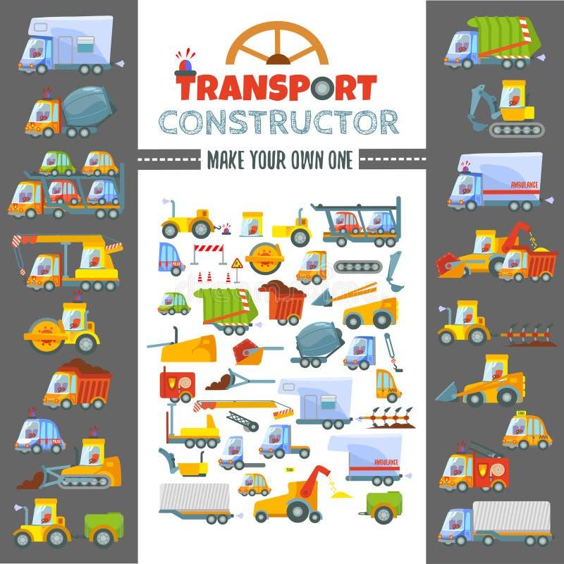 Het concept van het raadselspel om diverse voertuigen te maken royalty-vrije illustratie