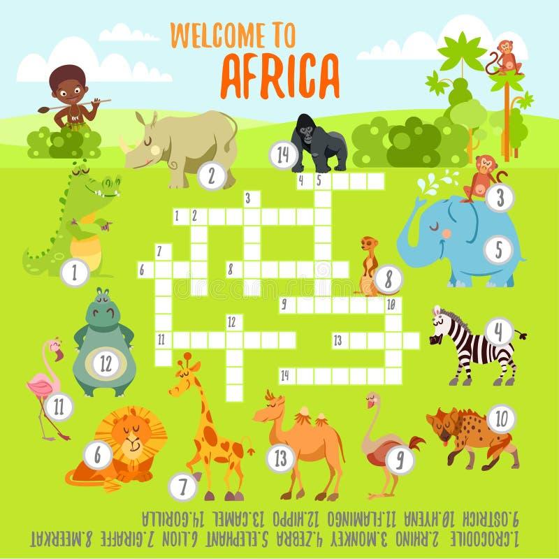 Het concept van het spelkruiswoordraadsel met beeldverhaal Afrikaanse dieren vector illustratie