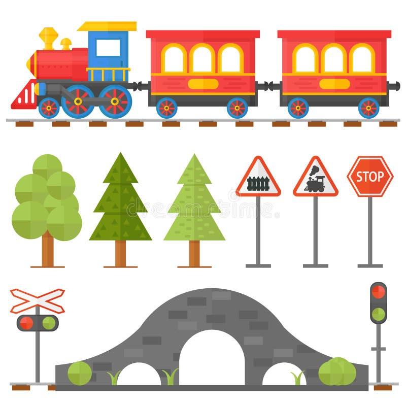 Het concept van het spoorwegontwerp plaatste met het stuk speelgoed van de de spoorwegpassagier van de postbeheerder trein vlakke stock illustratie