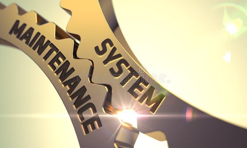 Het Concept van het systeemonderhoud Gouden Metaaltandraderen 3d stock afbeelding