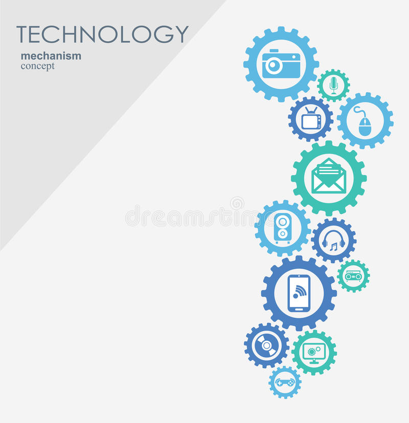 Het concept van het technologiemechanisme Abstracte achtergrond met geïntegreerde toestellen en pictogrammen voor digitaal, Inter vector illustratie