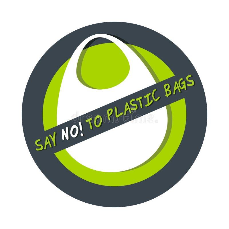 Het concept van het verontreinigingsprobleem zegt nr aan plastic die zak op wit wordt geïsoleerd stock illustratie