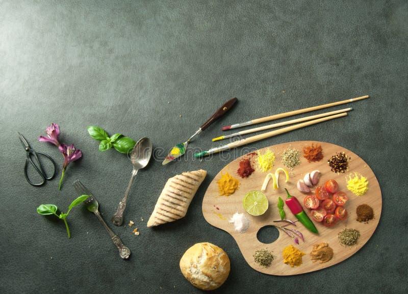 Het concept van het voedselpalet royalty-vrije stock fotografie