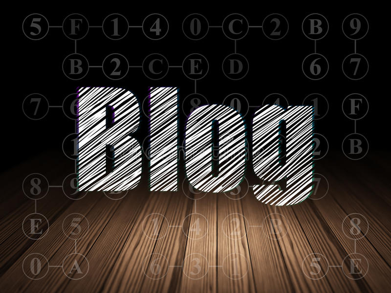 Het concept van het Webontwerp: Blog in grunge donkere ruimte stock foto