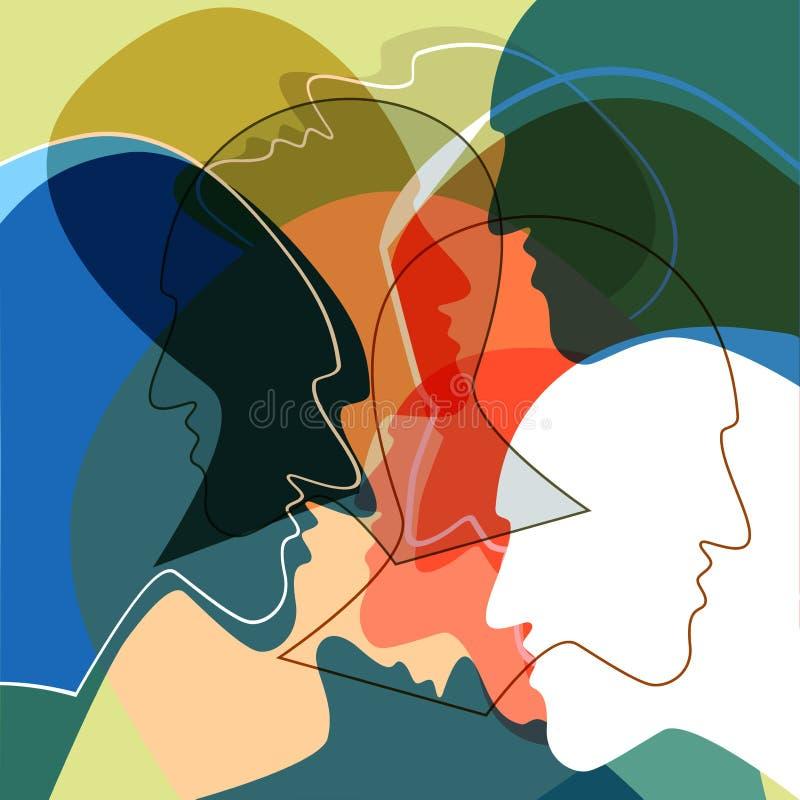 Het concept van hoofdenmensen, symbool van communicatie tussen mensen royalty-vrije illustratie