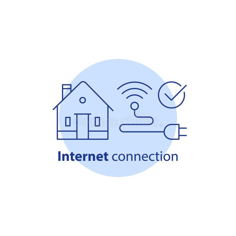 Het concept van huiswifi, draadloos netwerk, Internet-de verbindingsdiensten, slim huis, vectorslagpictogram vector illustratie