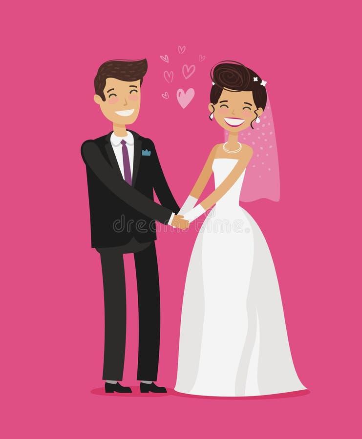 Het concept van het huwelijk Gelukkige bruid en bruidegomholdingshanden De vectorillustratie van het beeldverhaal vector illustratie