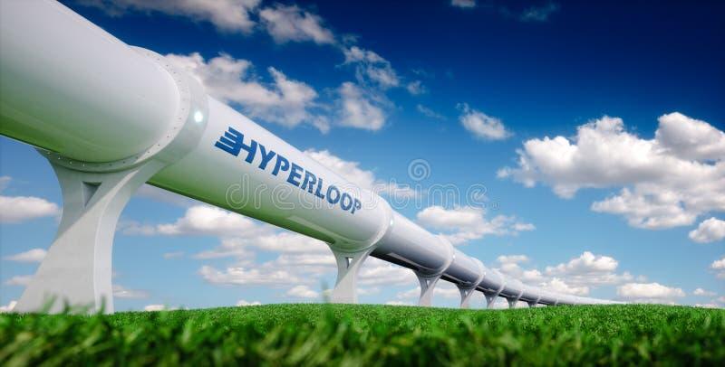 Het concept van het Hyperloopvervoer Futuristische vervoerstechnologie royalty-vrije illustratie