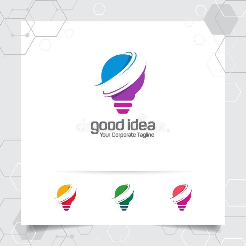 Het concept van het het ideeontwerp van het bolembleem digitale kleurrijke symbool en pictogramlampvector Slim die ideeembleem vo stock illustratie
