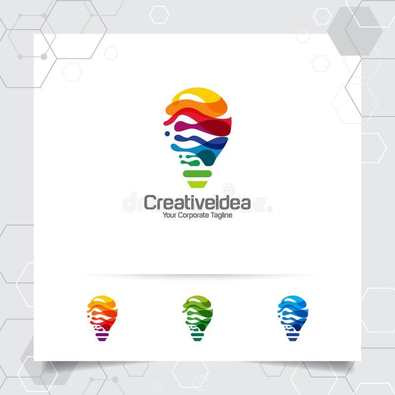 Het concept van het het ideeontwerp van het bolembleem digitale kleurrijke symbool en pictogramlampvector Slim die ideeembleem vo royalty-vrije illustratie