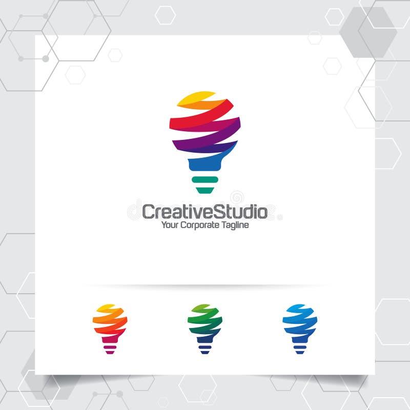 Het concept van het het ideeontwerp van het bolembleem digitale kleurrijke symbool en pictogramlampvector Slim die ideeembleem vo vector illustratie