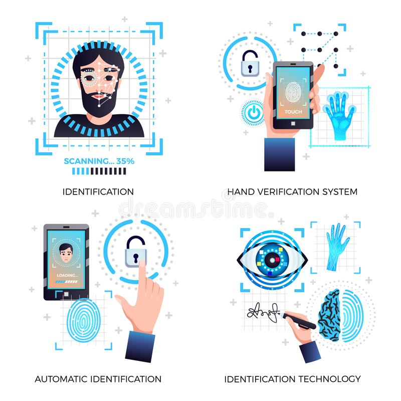 Het Concept van identificatietechnologieën vector illustratie