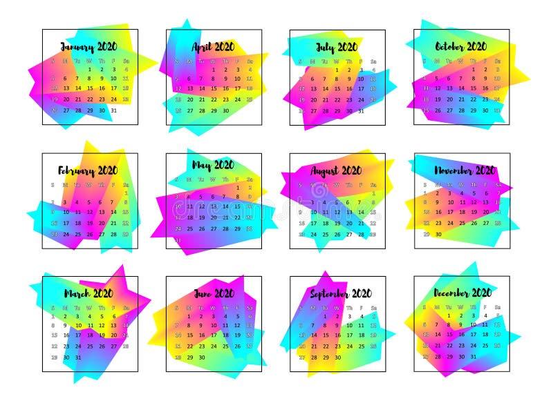2020 het concept van het Kalenderontwerp Jaar 2020 vector illustratie