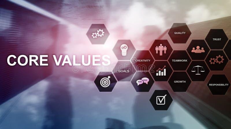 Het concept van kernwaarden op het virtuele scherm Bedrijfs en financi?noplossingen stock foto
