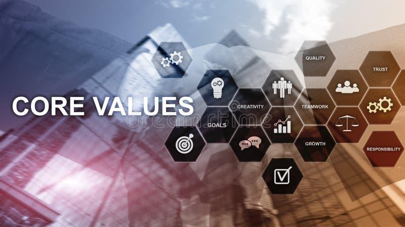 Het concept van kernwaarden op het virtuele scherm Bedrijfs en financi?noplossingen royalty-vrije stock afbeeldingen