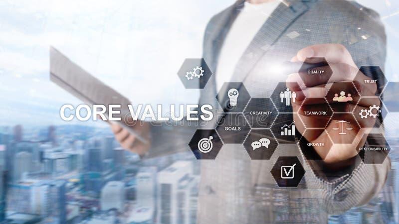 Het concept van kernwaarden op het virtuele scherm Bedrijfs en financi?noplossingen stock afbeelding