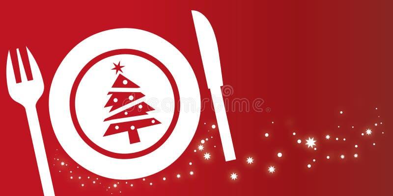 Het concept van het Kerstmisdiner op rode achtergrond vector illustratie