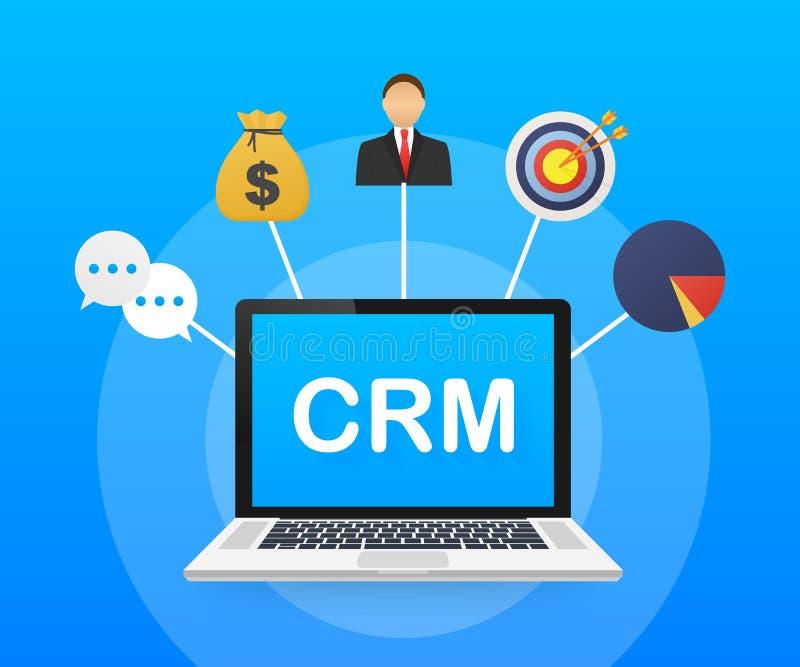Het concept van het klantrelatiebeheer Organisatie van gegevens over het werk met cli?nten, CRM-concept Vector illustratie royalty-vrije illustratie