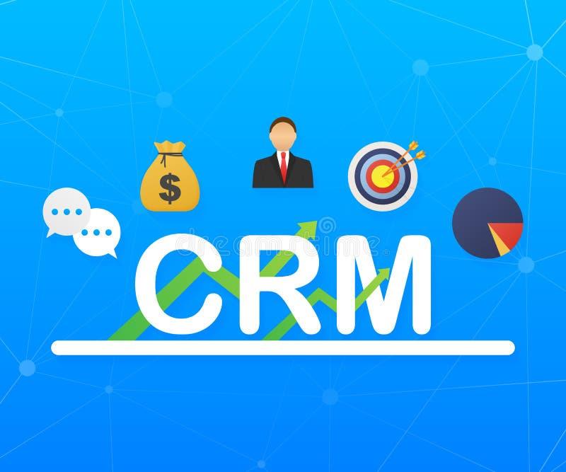 Het concept van het klantrelatiebeheer Organisatie van gegevens over het werk met cli?nten, CRM-concept Vector illustratie stock illustratie