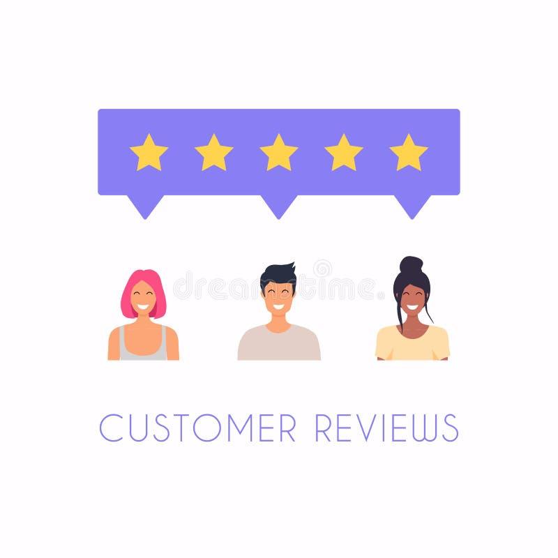 Het concept van koppelt, huldeblijkenberichten en berichten terug Het schatten op de illustratie van de klantendienst Vijf sterre vector illustratie