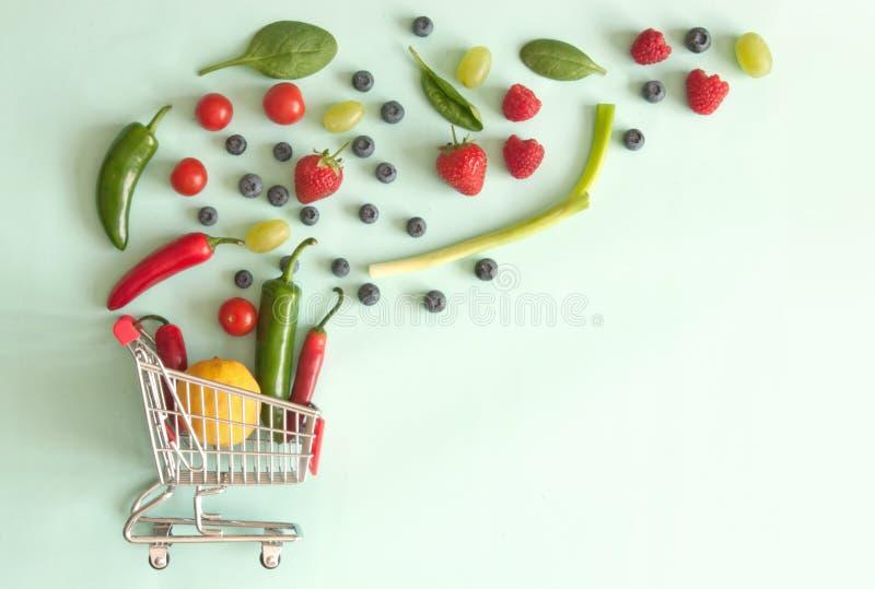 Het concept van het kruidenierswinkelboodschappenwagentje royalty-vrije stock foto